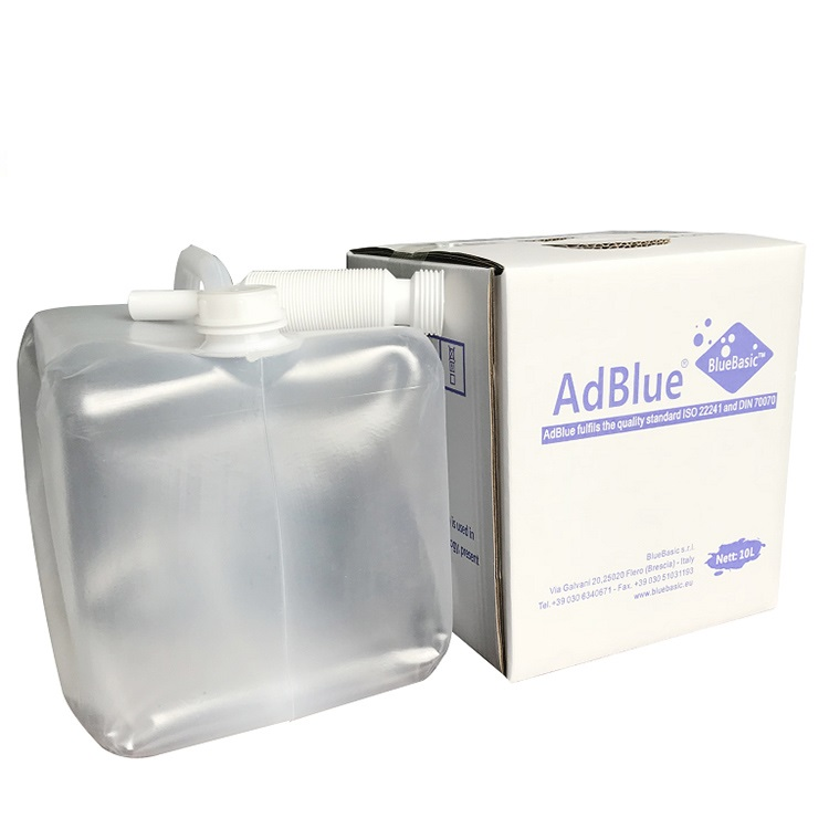 Durable plastic bag package AdBlue DEF 10L to reduce emssion